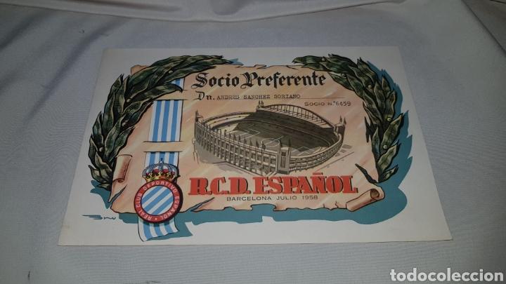 Coleccionismo deportivo: Titulo de socio preferente r.c.d. español . Barcelona 1958 - Foto 2 - 120279398