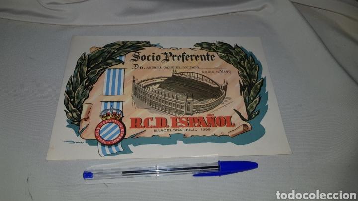 Coleccionismo deportivo: Titulo de socio preferente r.c.d. español . Barcelona 1958 - Foto 3 - 120279398