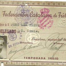 Coleccionismo deportivo: (F-180570)CARNET FEDERACION CATALANA DE FUTBOL - D.CENIA - 1952/53 - INTERESANTE VIÑETA. Lote 120998059