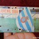 Coleccionismo deportivo: CARNET SOCIO RCD R.C.D ESPANYOL ESPAÑOL ANY 1986 JUVENIL. Lote 123367963