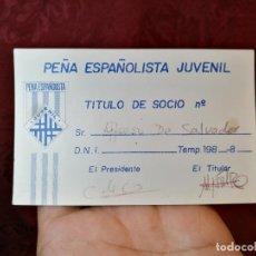Coleccionismo deportivo: CARNET PEÑA RCD ESPAÑOL LA JUVENIL. TEMPORADA 83-84. RCD ESPANYOL. FUTBOL. BARCELONA. . Lote 123368815