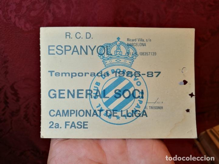 CARNET GENERAL SOCI CAMPIONAT DE LLIGA -R.C.D ESPANYOL 1986-87--SOLO PARA PARTIDOS 2ª FASE (Coleccionismo Deportivo - Documentos de Deportes - Carnet de Socios)