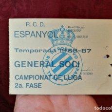 Coleccionismo deportivo: CARNET GENERAL SOCI CAMPIONAT DE LLIGA -R.C.D ESPANYOL 1986-87--SOLO PARA PARTIDOS 2ª FASE. Lote 123369511