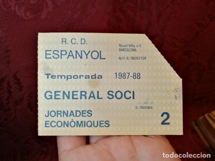 CARNET GENERAL SOCI JORNADES ECONOMIQUES -R.C.D ESPANYOL 1987-88--SOLO PARA 2 PARTIDOS (Coleccionismo Deportivo - Documentos de Deportes - Carnet de Socios)