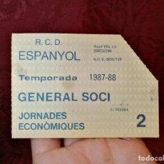 Coleccionismo deportivo: CARNET GENERAL SOCI JORNADES ECONOMIQUES -R.C.D ESPANYOL 1987-88--SOLO PARA 2 PARTIDOS. Lote 123369863
