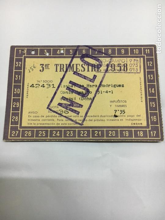 Coleccionismo deportivo: Carnet futbol club Barcelona 1958 - Foto 2 - 203996511