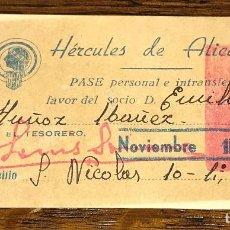 Coleccionismo deportivo: CARNET DE SOCIO AÑO 1942 HERCULES DE ALICANTE - TEMPORADA 1942-43 - 2ª DIVISIÓN . Lote 125307867