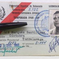 Coleccionismo deportivo: CARNET / LICENCIA DE JUGADOR 1968 - 69 - FEB FEDERACIÓN CANTABRIA DE BALONCESTO - TORRELAVEGA OJE. Lote 126012735