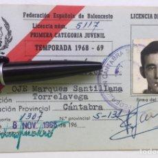 Coleccionismo deportivo: CARNET / LICENCIA DE JUGADOR 1968 - 69 - FEB FEDERACIÓN CANTABRIA DE BALONCESTO - TORRELAVEGA OJE. Lote 126012999