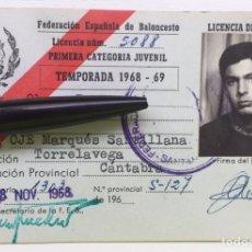 Coleccionismo deportivo: CARNET / LICENCIA DE JUGADOR 1968 - 69 - FEB FEDERACIÓN CANTABRIA DE BALONCESTO - TORRELAVEGA OJE. Lote 126013276
