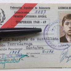 Coleccionismo deportivo: CARNET / LICENCIA DE JUGADOR 1968 - 69 - FEB FEDERACIÓN CANTABRIA DE BALONCESTO - TORRELAVEGA OJE. Lote 126015446