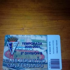 Coleccionismo deportivo: CARNET DE SOCIOS. CLUB DEPORTIVO SAN FERNANDO. TEMPORADA 2000 2001. 2º DIVISION B. C5CR. Lote 134364030