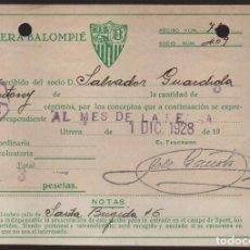 Coleccionismo deportivo: CARNET ,UTRERA BALOMPIE, SOCIO Nº 409, 1 DICIEMBRE 1928, VER FOTO. Lote 134892430