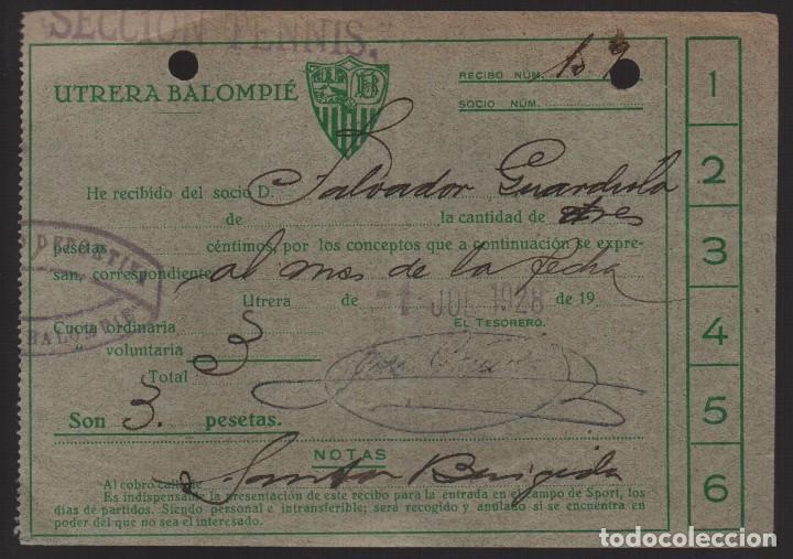 CARNET ,UTRERA BALOMPIE, SOCIO Nº 482,SECCION TENNIS- 1 SETIEMBRE 1928, VER FOTO (Coleccionismo Deportivo - Documentos de Deportes - Carnet de Socios)