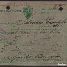 Coleccionismo deportivo: CARNET ,UTRERA BALOMPIE, SOCIO Nº 482,SECCION TENNIS- 1 SETIEMBRE 1928, VER FOTO. Lote 134892918