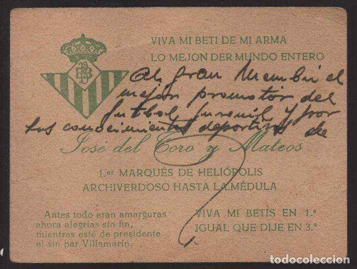 BETIS BALOMPIE, TARJETA, JOSE DEL TORO Y MATEOS, 1ER. MARQUES DE HELIOPOLIS, PTE. BENITO VILLAMARIN (Coleccionismo Deportivo - Documentos de Deportes - Carnet de Socios)