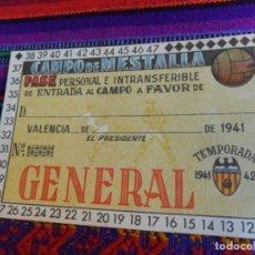 Coleccionismo deportivo: NUEVO SIN RELLENAR, CARNET SOCIO VALENCIA C.F. TEMPORADA 1941 1942. GENERAL CAMPO DE MESTALLA. LUJO.. Lote 135111450