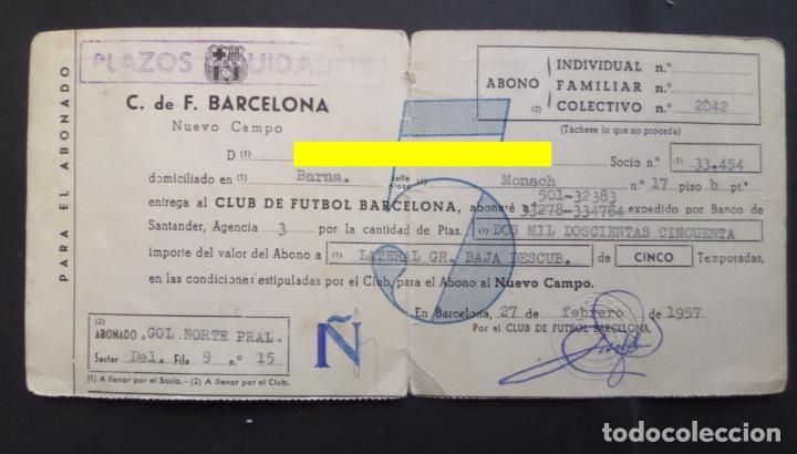 CARNET DE ABONADO DEL F.C. BARCELONA, SELLADO DE LOS AÑOS 1957 AL 1967. VER FOTOS (Coleccionismo Deportivo - Documentos de Deportes - Carnet de Socios)