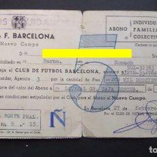 Coleccionismo deportivo: CARNET DE ABONADO DEL F.C. BARCELONA, SELLADO DE LOS AÑOS 1957 AL 1967. VER FOTOS. Lote 135443058