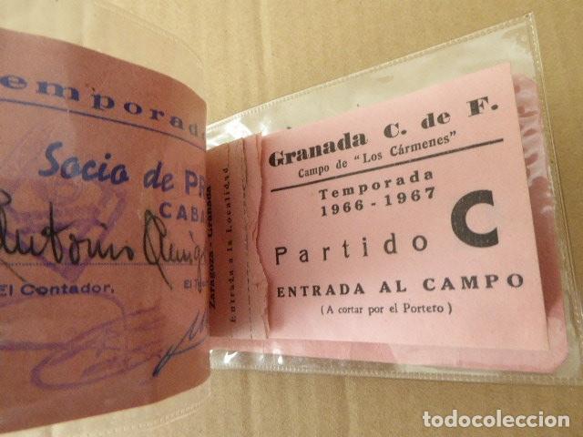 CARNET DE SOCIO. GRANADA C.F. TEMPORADA 1966-67. CONSERVA 5 ENTRADAS. VER FOTOS. (Coleccionismo Deportivo - Documentos de Deportes - Carnet de Socios)