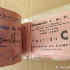 Collectionnisme sportif: CARNET DE SOCIO. GRANADA C.F. TEMPORADA 1966-67. CONSERVA 5 ENTRADAS. VER FOTOS.. Lote 139173338