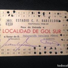Coleccionismo deportivo: CARNET PASE ENTRADA FEDERACION CATALANA 1958 FUTBOL CLUB F.C BARCELONA FC BARÇA CF JOYA. Lote 139691438