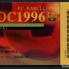 Coleccionismo deportivo: CARNET DE SOCIO, ANUAL, FÚTBOL CLUB BARCELONA, 1996. Lote 140782558