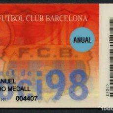 Coleccionismo deportivo: CARNET DE SOCIO, ANUAL, FÚTBOL CLUB BARCELONA, 1998. Lote 140785242