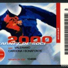 Coleccionismo deportivo: CARNET DE SOCIO, ANUAL, FÚTBOL CLUB BARCELONA, 2000. Lote 140790138