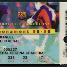 Coleccionismo deportivo: ABONO DE SOCIO, FÚTBOL CLUB BARCELONA, TEMPORADA 1995, 1996. Lote 140872310