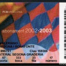 Coleccionismo deportivo: ABONO DE SOCIO, FÚTBOL CLUB BARCELONA, TEMPORADA 2002, 2003. Lote 140875202
