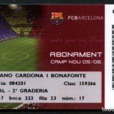 Coleccionismo deportivo: ABONO DE SOCIO, FÚTBOL CLUB BARCELONA, TEMPORADA 2005, 2006. Lote 140876898