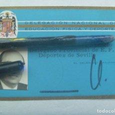 Coleccionismo deportivo: DELEGACION NACIONAL DE EDUCACION FISICA Y DEPORTES : CARNET DE DELEGADO PROVINCIAL . AGUILA SAN JUAN. Lote 140905974