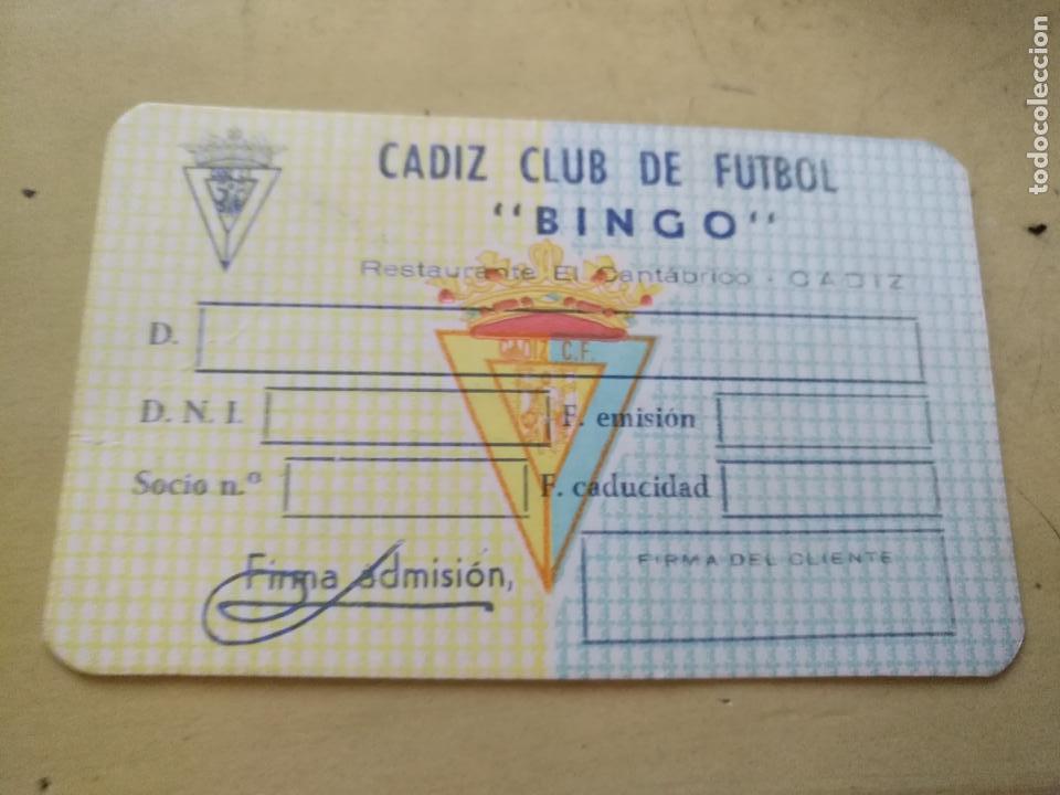 ANTIGUO CARNET SOCIO SIN RELLENAR DEL BINGO RESTAURANTE EL CANTABRICO CADIZ CLUB DE FUTBOL (Coleccionismo Deportivo - Documentos de Deportes - Carnet de Socios)