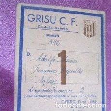Coleccionismo deportivo: CLUB DE FUTBOL ASTURIANO GRISU CARNET DE SOCIO AÑO 1956. Lote 141792574