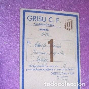 Coleccionismo deportivo: CLUB DE FUTBOL ASTURIANO GRISU CARNET DE SOCIO AÑO 1956 - Foto 3 - 141792574