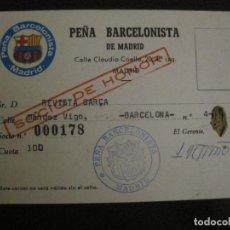 Coleccionismo deportivo: CARNET PEÑA BARCELONISTA MADRID -CLUB DE FUTBOL BARCELONA -VER FOTOS - (54.738). Lote 142442030