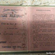 Coleccionismo deportivo: CLUB DEPORTIVO DE LAS HILATURAS FABRA Y COSTOS SAN ANDRÉS 1924-25. Lote 142995142