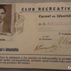 Coleccionismo deportivo: CARNET SOCIO.CLUB RECREATIVO PATERNA.FED.ANDALUZA FUTBOL.PATERNA DEL CAMPO.HUELVA.BERMUDEZ ROMERO. Lote 143096518