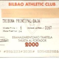 Coleccionismo deportivo: TARJETA SOCIO-ABONO, BILBAO ATHLETIC CLUB, AÑO 2000. Lote 143573766