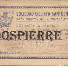 Coleccionismo deportivo: CARNET SOCIO, SOCIEDAD CICLISTA SANTUCHU, BILBAO, 1961. Lote 144008194