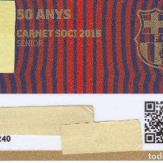 Coleccionismo deportivo: CARNET DE SOCIO DE FUTBOL CLUB BARCELONA TEMPORADA 2018 - 50 ANYS SENIOR - BARÇA (CAIXA-NIKE-AUDI-. Lote 144388042