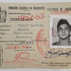 Coleccionismo deportivo: FEDERACIÓN ESPAÑOLA DE BALONCESTO. LICENCIA DE JUGADOR. 1952. Lote 144410898