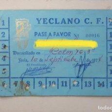 Coleccionismo deportivo: YECLANO PASE PARA 20 PARTIDOS DE FÚTBOL 1974 YECLA MURCIA. Lote 144504982