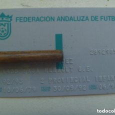 Coleccionismo deportivo: CARNET DE LA FEDERACION ANDALUZA DE FUTBOL , TEMPORADA 92 / 93 , INFANTIL. Lote 144570006