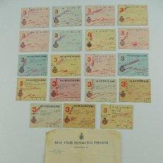 Coleccionismo deportivo: LOTE DE 19 CARNETS REAL CLUB DEPORTIVO ESPAÑOL SOCIO AÑOS 40, VARIOS MESES. Lote 146264914