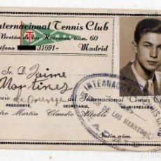 Coleccionismo deportivo: CARNET DEL INTERNACIONAL TENIS CLUB MADRID. AÑO 1944.. Lote 146516106