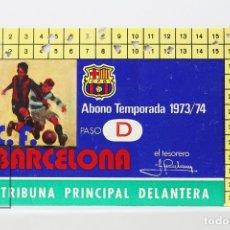 Coleccionismo deportivo: CARNET DE SOCIO - C.F. BARCELONA 1973-1974 - ABONO TEMPORADA 73/74 - TRIBUNA PRINCIPAL DELANTERA. Lote 147316978