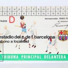 Coleccionismo deportivo: CARNET DE SOCIO - C.F. BARCELONA 1969-1970 - ABONO TEMPORADA 69/70 - TRIBUNA PRINCIPAL DELANTERA. Lote 147317161