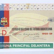 Coleccionismo deportivo: CARNET DE SOCIO - C.F. BARCELONA 1958-1959 - ABONO TEMPORADA 58/59 - TRIBUNA PRINCIPAL DELANTERA. Lote 147317537